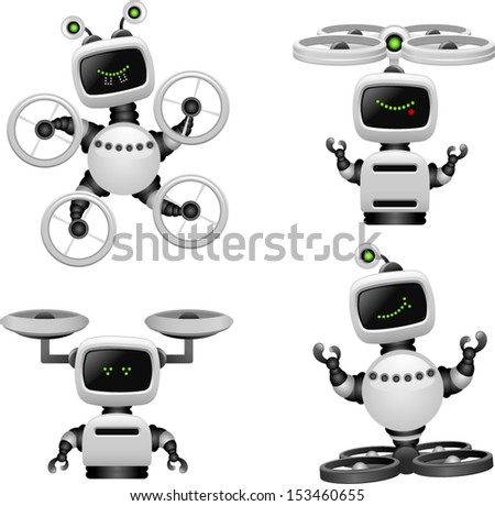 vector cute flying robots set 2