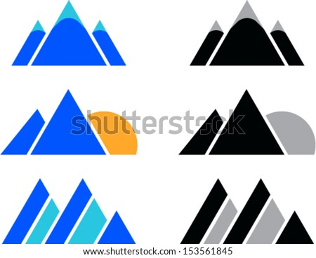 vector set of  mountain icons