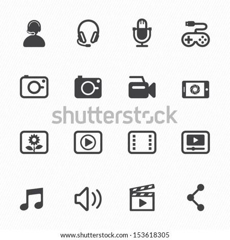 multimedia icons with white