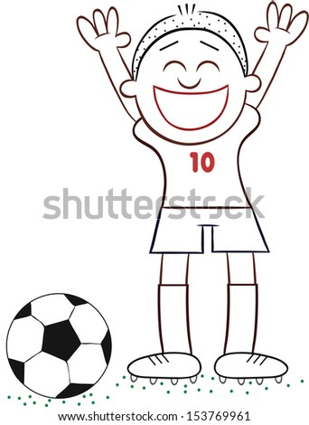 cartoon of soccer player happy
