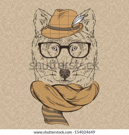portrait of wolf hipster in hat