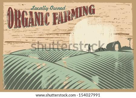 vintage organic farming sign