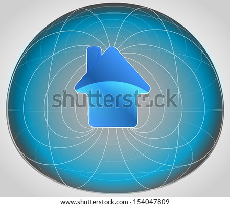 blue matrix cell with house in