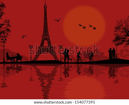 paris in love on beautiful red