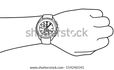 hand with modern watch  vector