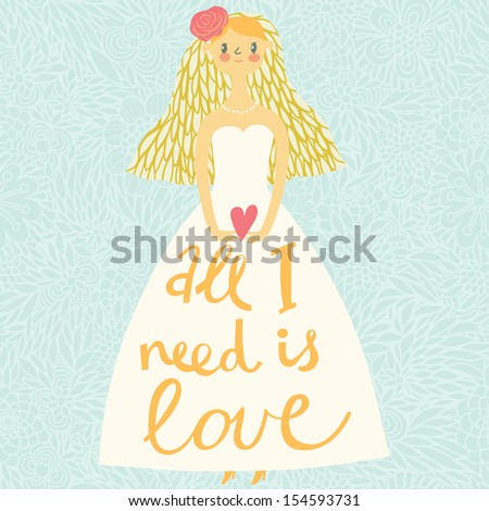 beautiful bride in vector with