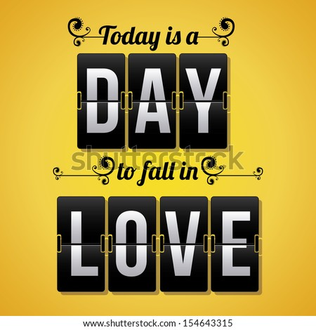 love day over yellow background