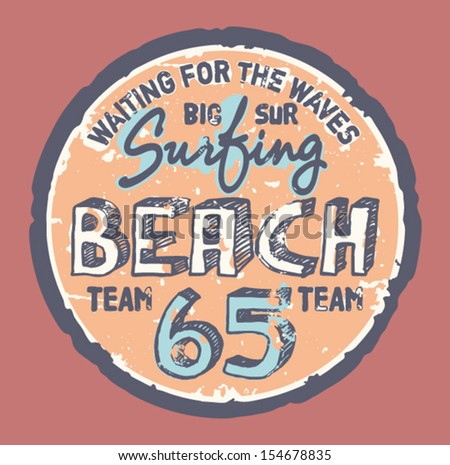 surfing beach    grunge vector