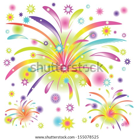 abstract colorful fireworks on