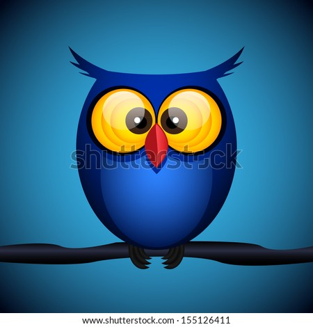 blue owl on the dark background