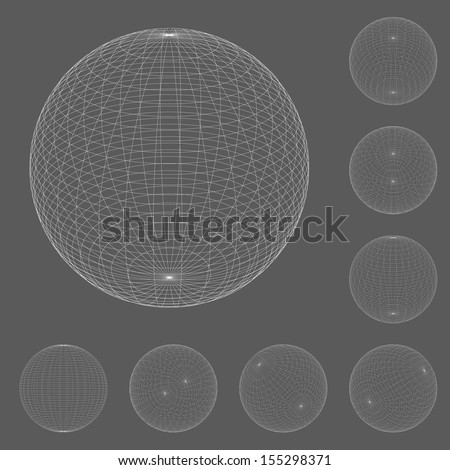 abstract wireframe spheres set