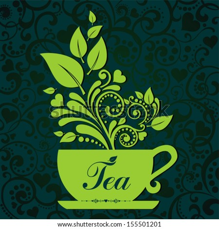 cute tea time card cup with