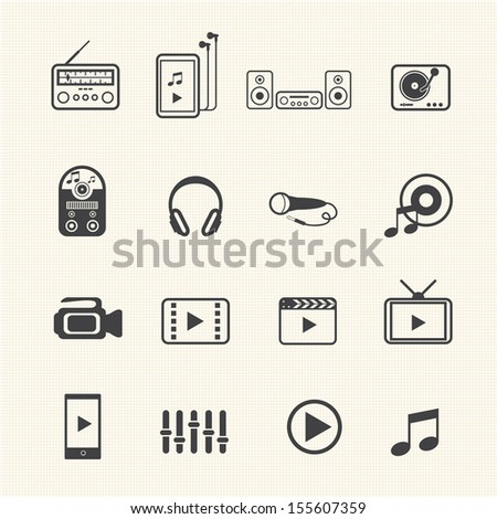 big data icon set  multimedia