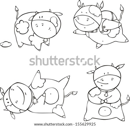 funny calf cartoons set of