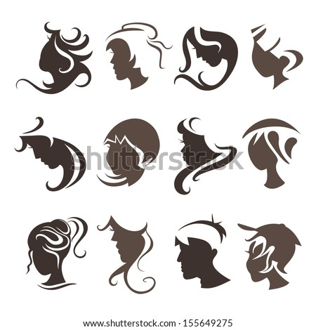 vector set of people hairstyles