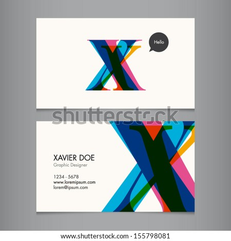 business card template  letter x