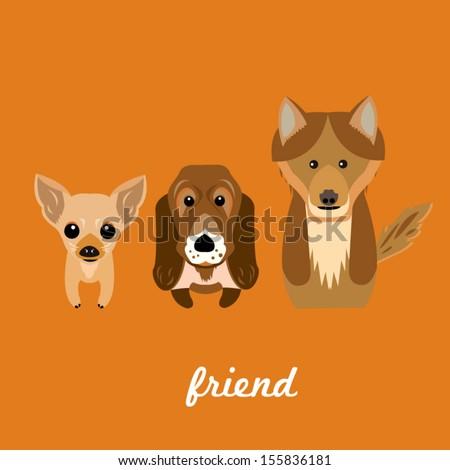 cute dog set friend orange