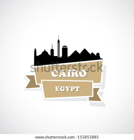 cairo ribbon banner   vector