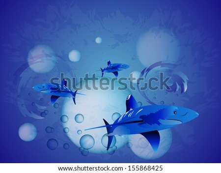 underwater  shark with bubbles