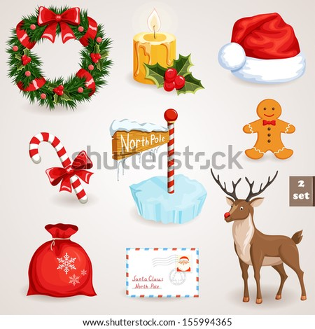 christmas icons set holiday