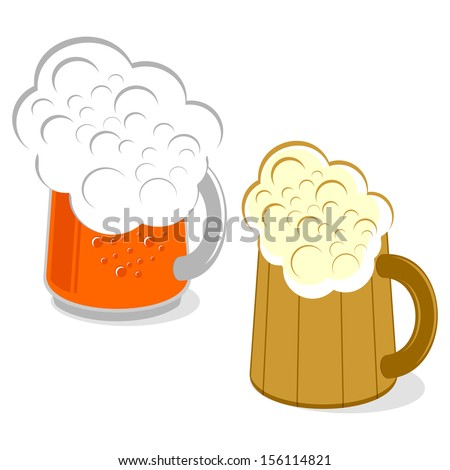 mug of beer on a white