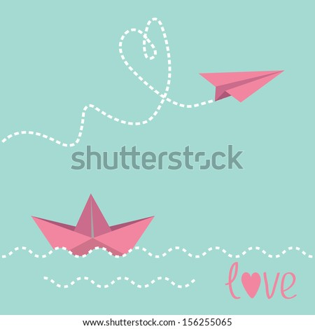 origami paper boat and paper