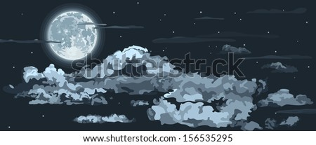 full moon  stars and clouds no