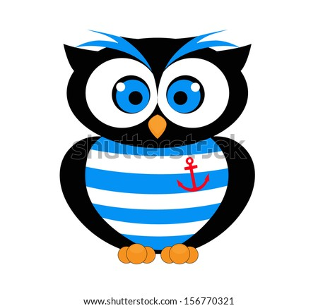 decorative vector owl sailor