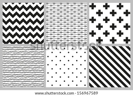 set of 6 black and white