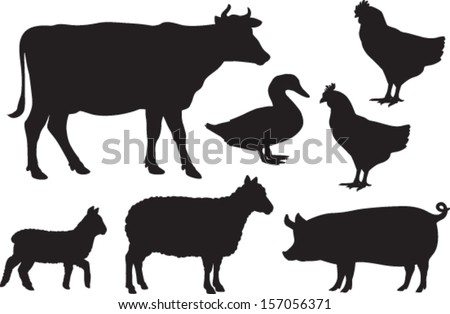 vector farm animal silhouettes