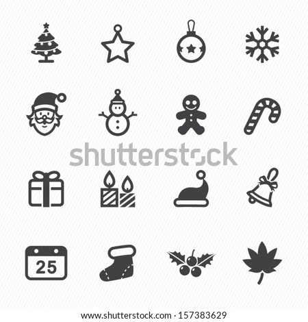 christmas icons with white