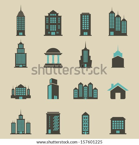 building set vector   color