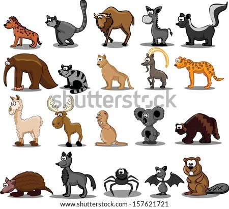 set of 20 cute cartoon animals