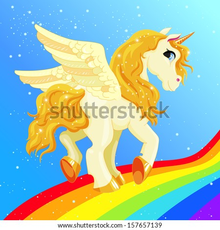 white pegasus with a golden