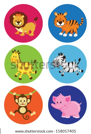 assorted cartoon wild animals