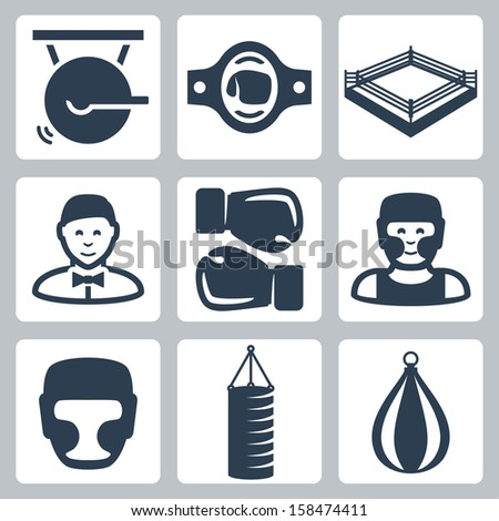 vector boxing icons set  gong