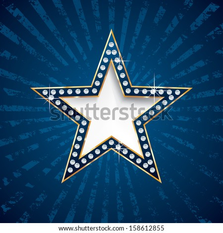 vector diamond star on blue