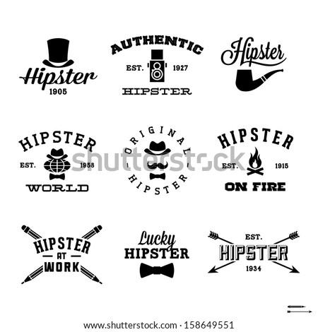 vintage hipster labels with hat