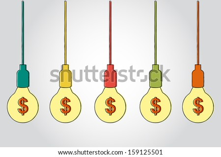 dollar symbol with light bulbs