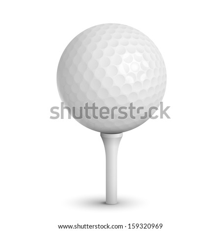 golf ball on white tee