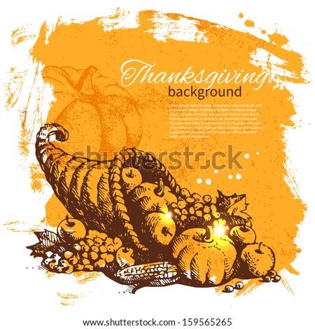 hand drawn vintage thanksgiving