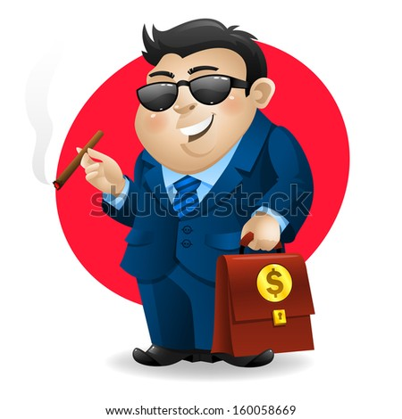 businessman smoking cigar and