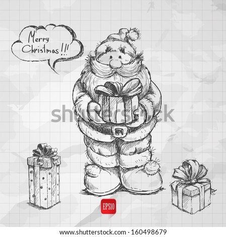 sketch style santa claus with