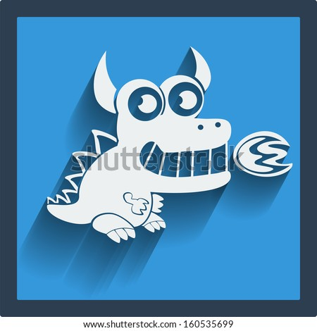funny vector white dragon in