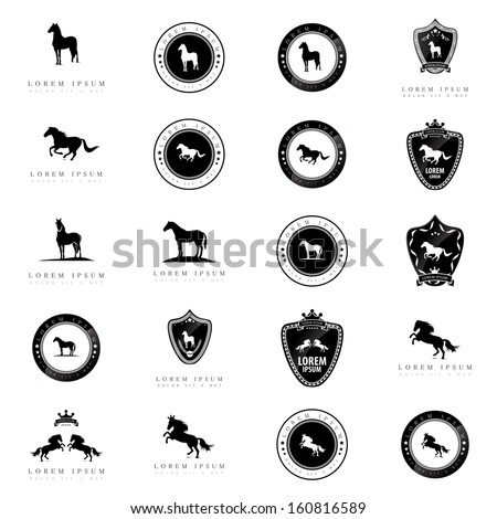 horse icons set   isolated on