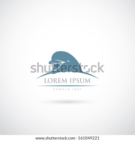smiling dolphin symbol   vector