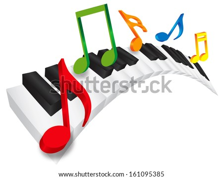 piano keyboard with black and