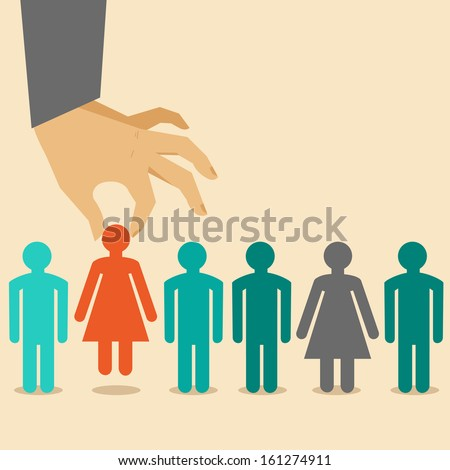 stock-vector-vector-human-resources-concept-hand-holding-woman-icon-in-flat-style