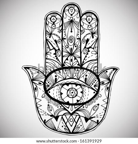 hand drawn boho hamsa hand
