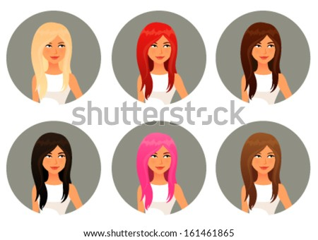 cute cartoon girls with various